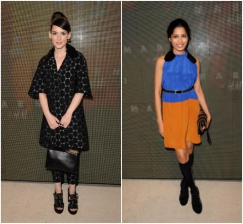 Winona Ryder & Freida Pinto - Soirée Lancement Marni pour H&M -