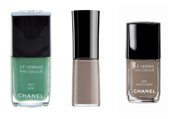 "Vernis Chanel ""407 Jade"", Armani ""Greige"", Chanel ""505 Particulière"""