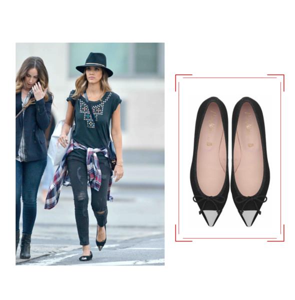 Vu sur Jessica Alba - Pretty ballerinas - Jeans & Stilettos